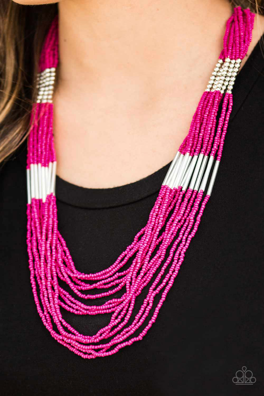 Paparazzi Necklace-Let it Bead-Pink