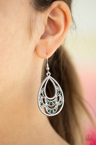 Paparazzi Earrings-Malibu Macrame-Green