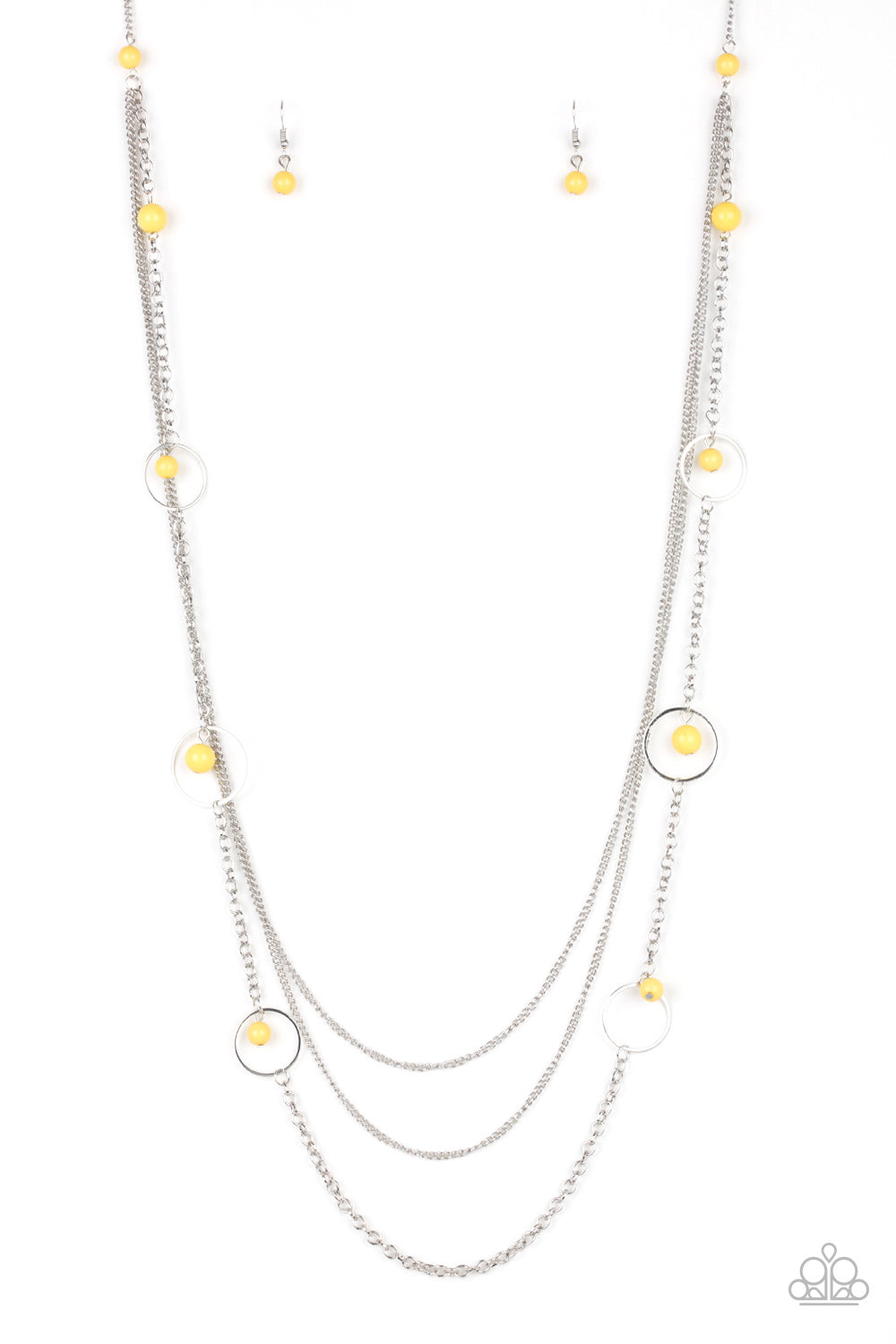 Paparazzi Necklace-Collectively Carefree-Yellow
