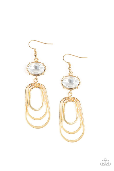 Paparazzi Earrings-Drop Dead Glamourous-Gold