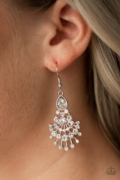 Paparazzi Earrings-Wheres the Limo-White