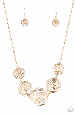 Paparazzi Necklace-Rosy Rosette-Gold