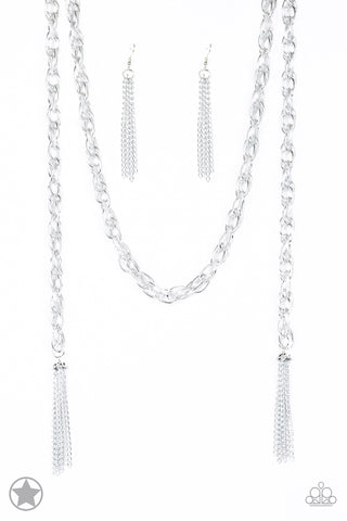Paparazzi Blockbuster Necklace-Scarfed for Attention-Silver