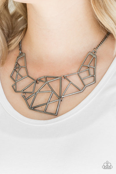 Paparazzi Necklace-World Shattering-Gunmetal