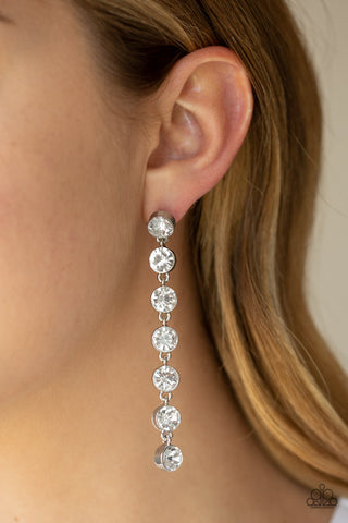 Paparazzi Earrings-Dazzling Debonair-White