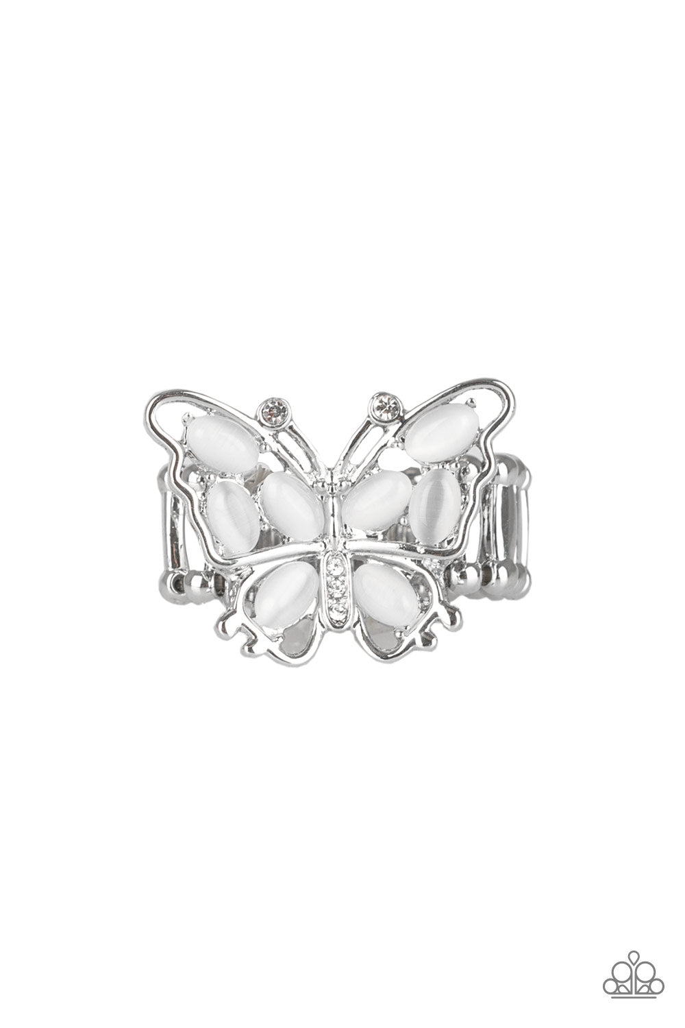 Paparazzi Ring-Flutter Flair-White