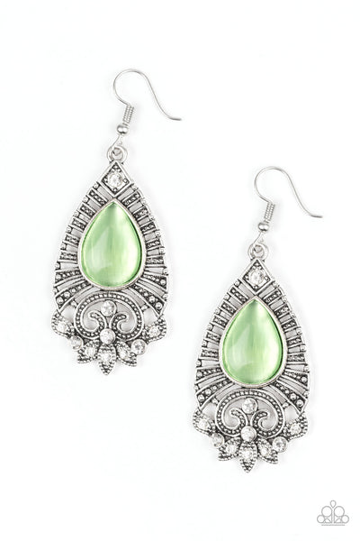 Paparazzi Earrings-Majestically Malibu-Green