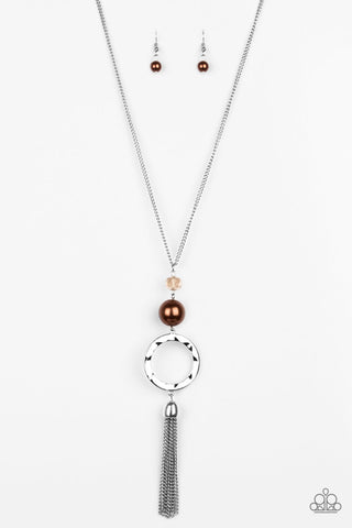 Paparazzi Necklace-Bold Balancing Act-Brown