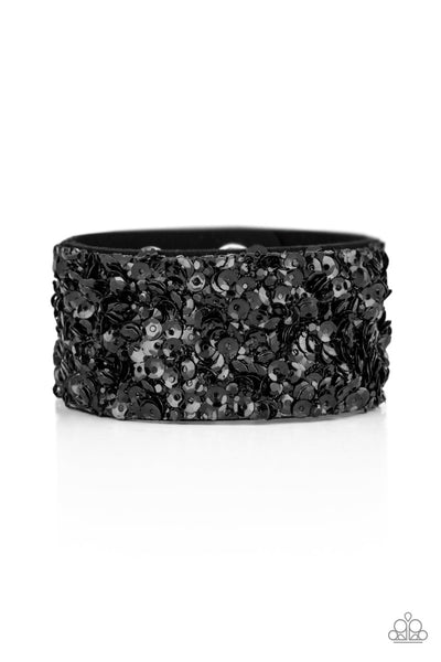 Paparazzi Bracelet-Starry Sequins-Black