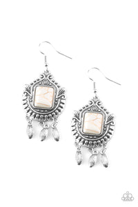 Paparazzi Earrings-Open Pastures-White