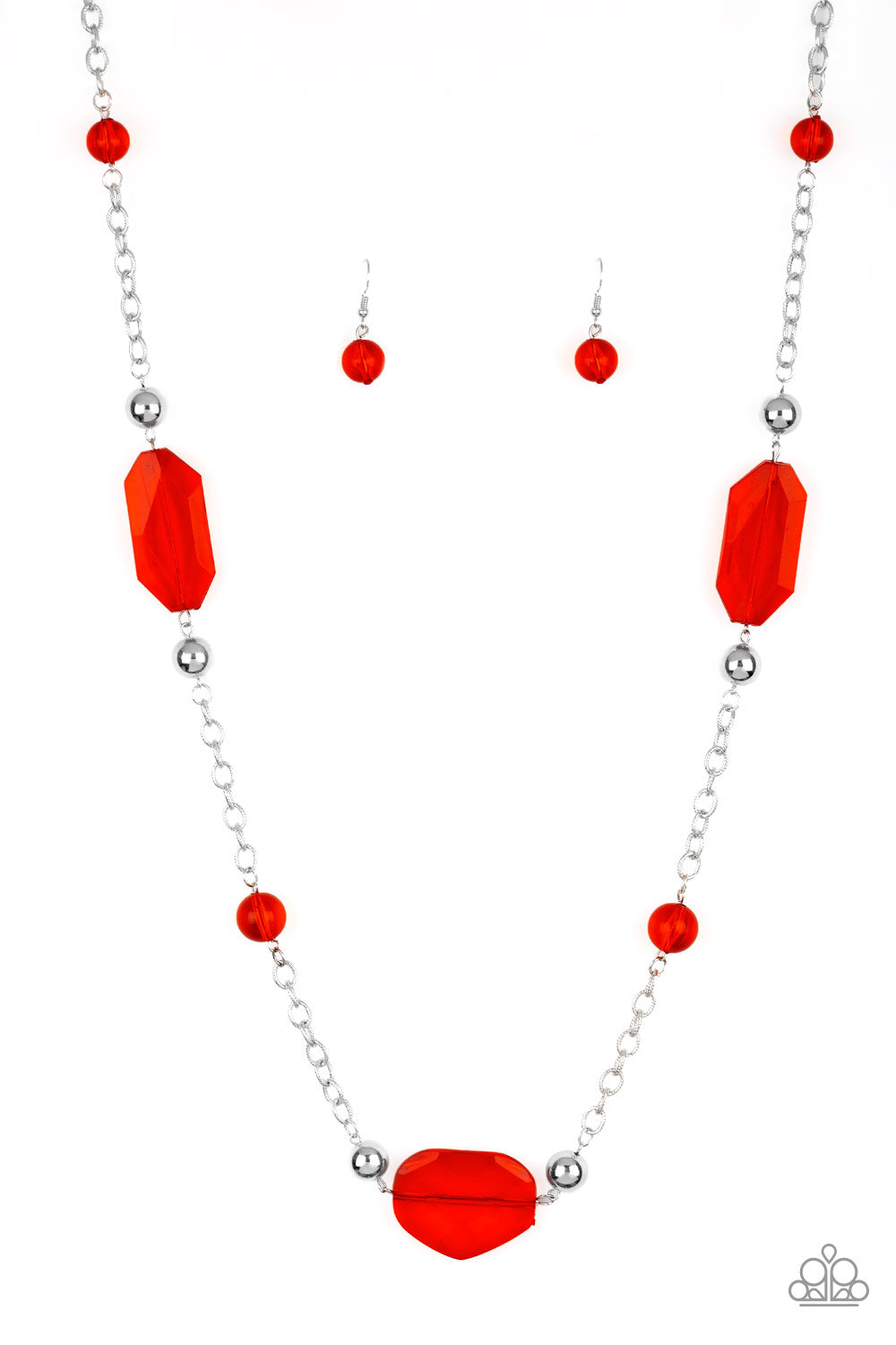 Paparazzi Necklace-Crystal Charm-Red