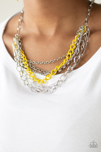 Paparazzi Necklace-Color Bomb-Yellow