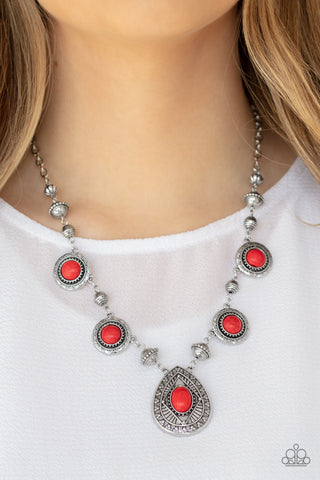 Paparazzi Necklace-Mayan Magic-Red