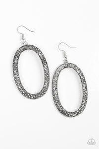 Paparazzi Earrings-Rhinestone Rebel-Silver