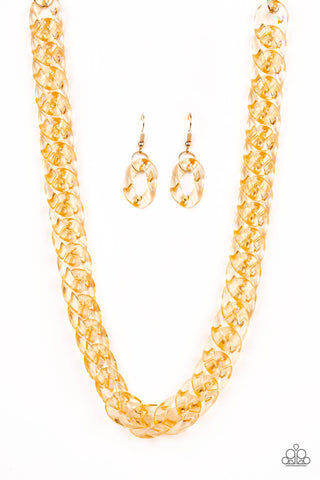 Paparazzi Necklace-Put it On Ice-Gold