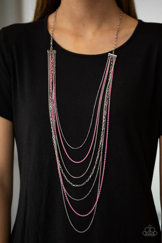 Paparazzi Necklace-Radical Rainbows-Pink