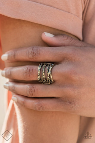 Paparazzi Ring-Switching Gears-Brass