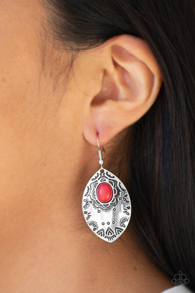 Paparazzi Earrings-Mountain Montage-Red