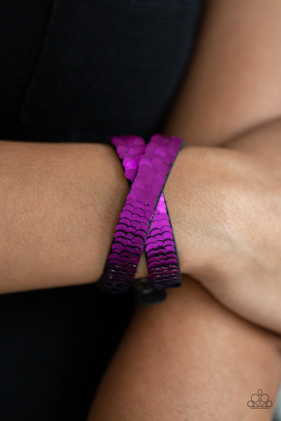 Paparazzi Bracelet-Under the Sequins-Purple