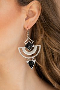 Paparazzi Earrings-Geo Gypsy-Black