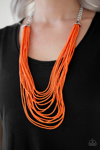 Paparazzi Necklace-Peacefully Pacific-Orange