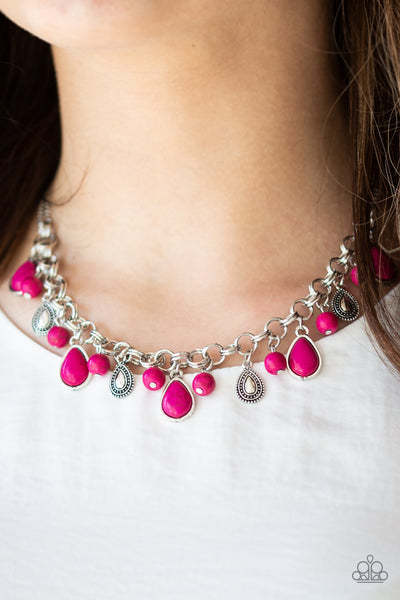 Paparazzi Necklace-Welcome to Bedrock-Pink