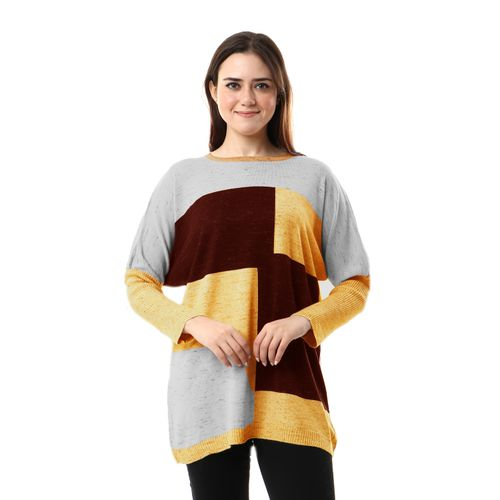 Tri-tone With Dolman Sleeves Pullover - Multicolour