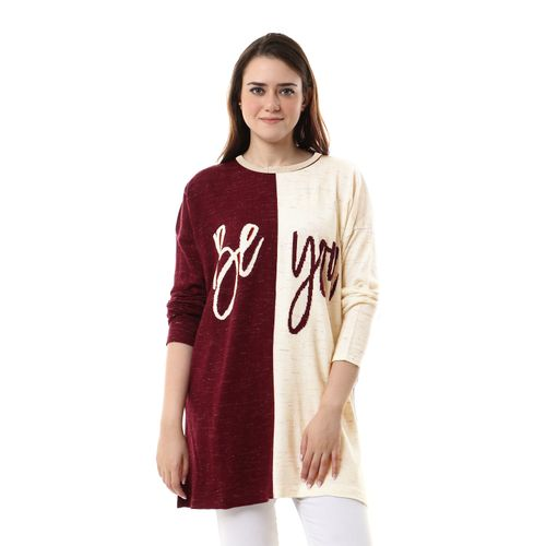 Colorful Heather Full Sleeves Pullover - White & Burgundy