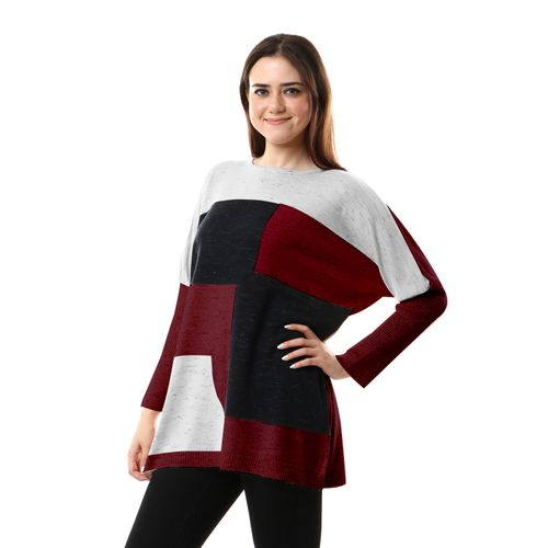 Tri-tone Long Sleeves Pullover - White