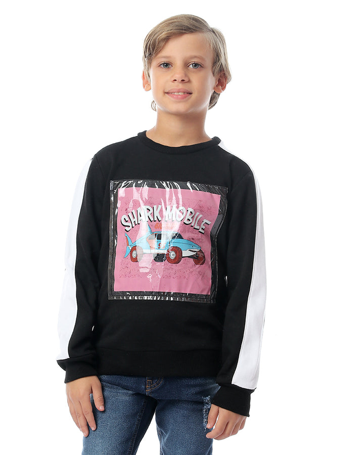 Boys Shark Mobile Round Sweatshirt - Black