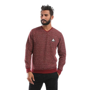 V-Neck Sweatshirt_Maroon