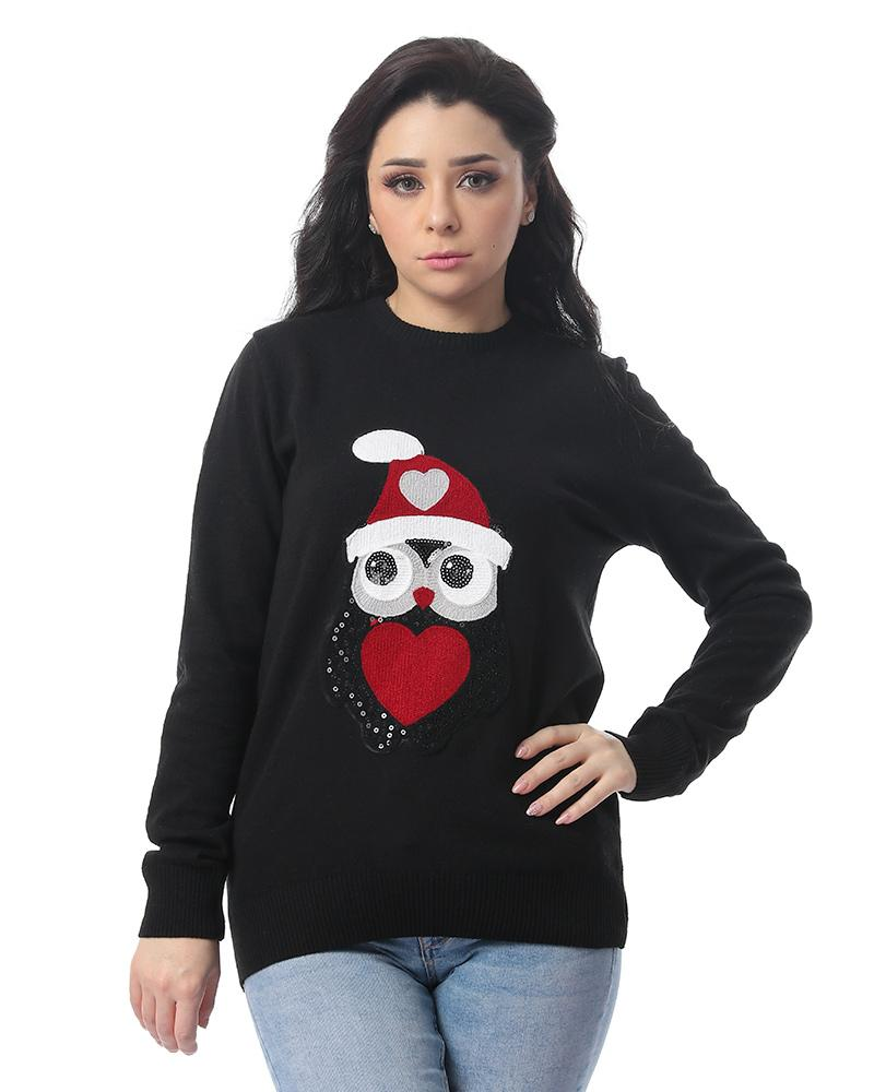 Winter Owl Stitched Black Pullover