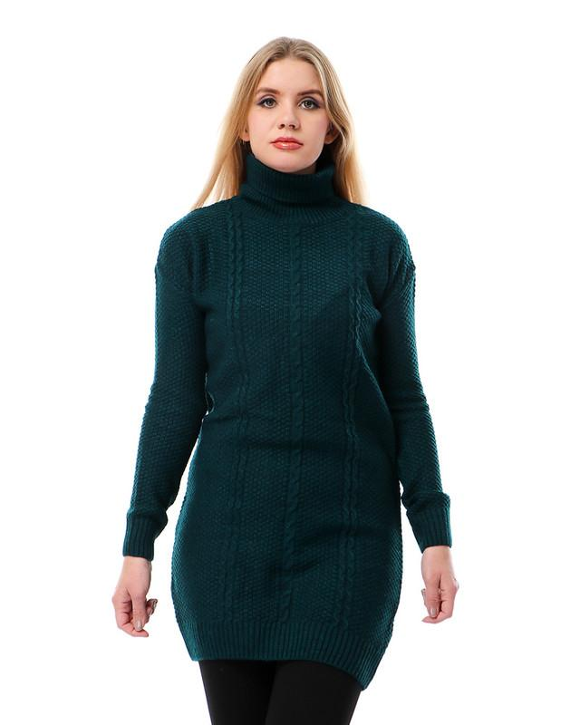 Turtle Neck Long Knitted Pullover - Dark Teal Green