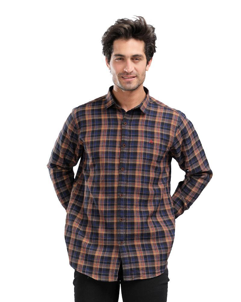 madras long sleeves winter shirt brown