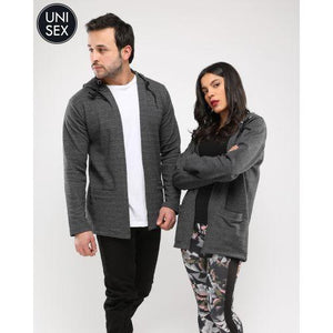 Unisex Long Cardigan With Pocket _Dark Grey