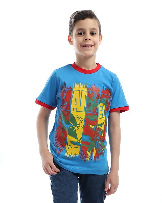 boys- printed- - marvel- - round- neck- t-shirt- - blue