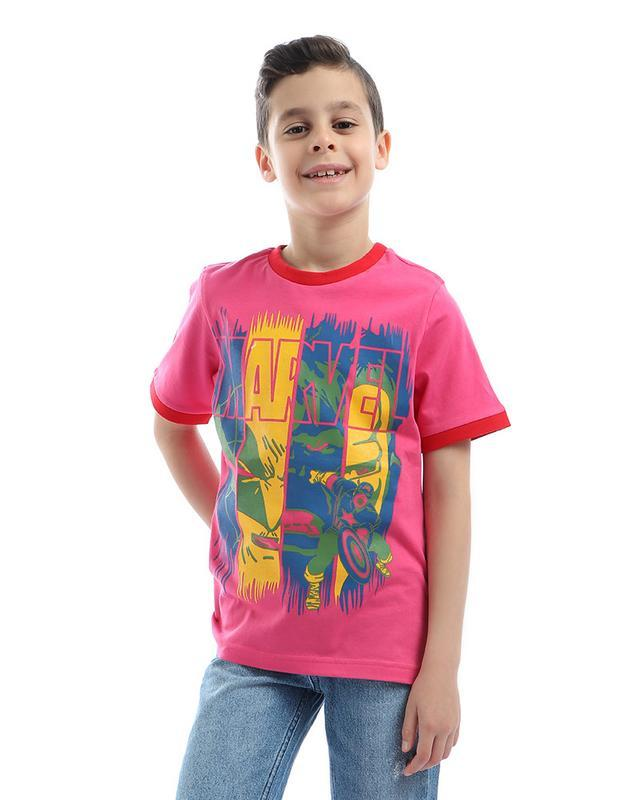 boys- printed- - marvel- - round- neck- t-shirt- - fuchsia