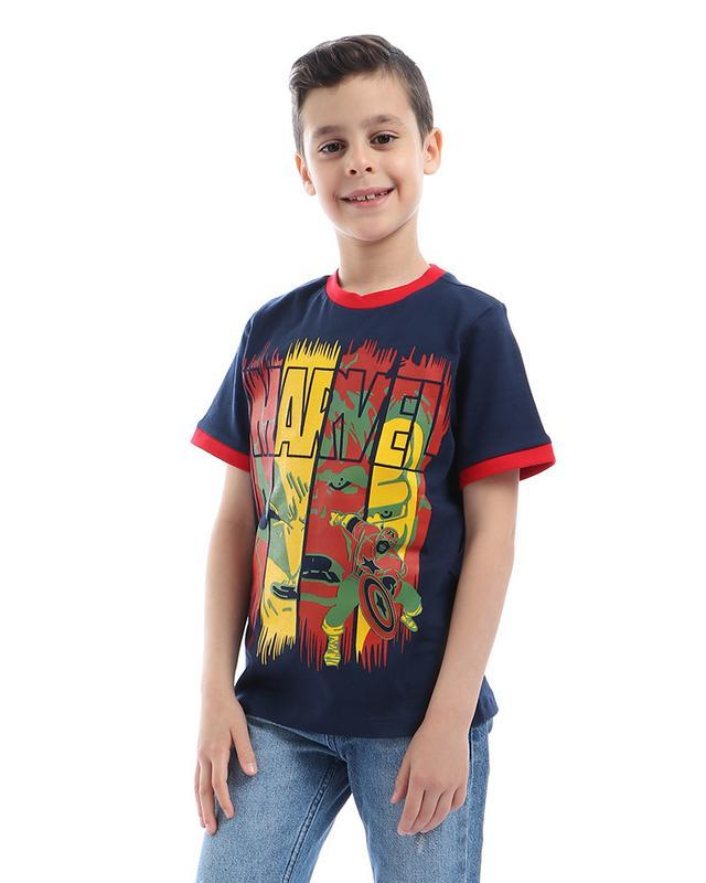 boys- printed- - marvel- - round- neck- t-shirt- - navy- blue