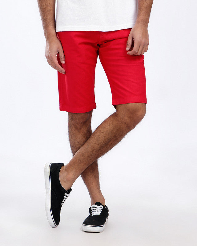 Pique Casual Four Pockets Short - Red