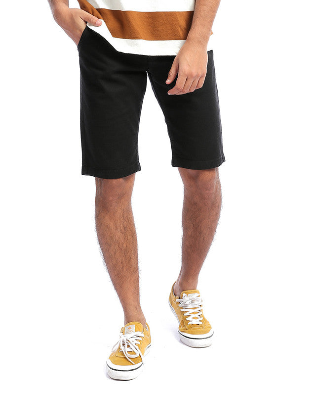 Pique Solid Summer Shorts - Black