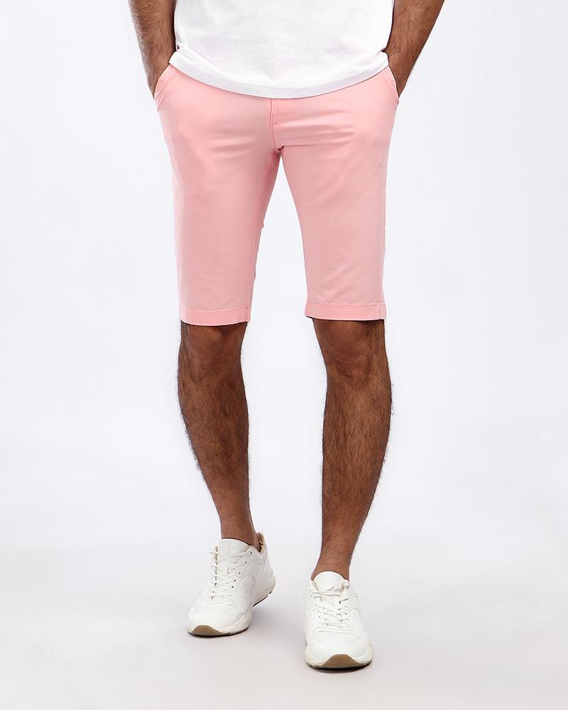 gabardine solid casual short pink