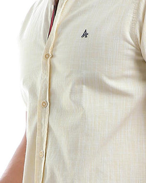 linen sharkskin buttoned shirt   heather yellow