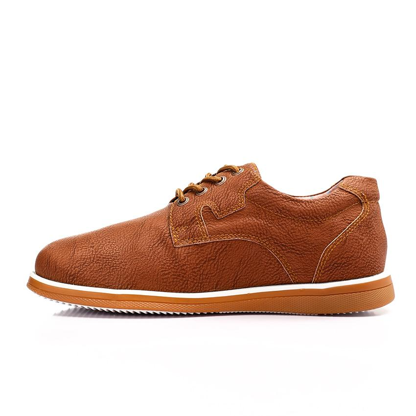Textured Leather Lace Up Casual Shoes - Havana
