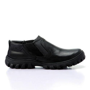 Leather Slip On Casual Shoes - Black