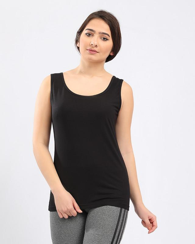 Solid Basic Sleeveless Black Slip On Tank Top
