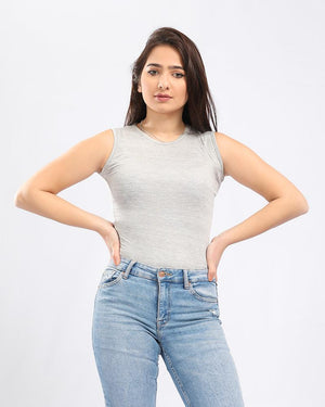Basic Heather Grey Casual Slip On Top - Andora