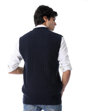 Knitted Sleeveless Zipped Vest - Navy Blue
