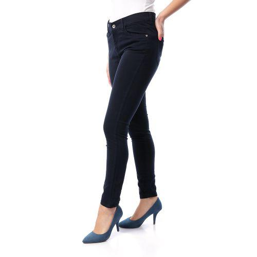 Gabardine Solid Casual Pants - Navy Blue