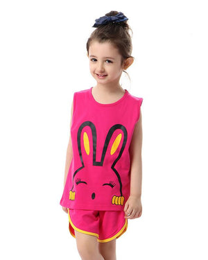 Rabbit Printed Sleeveless Pajama Set For Girls - Fuchsia
