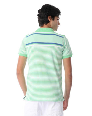 Striped Short Sleeves Polo Shirt - Lime